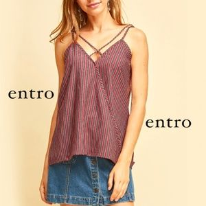 Dotted-striped surplice top Entro Tank Burgundy